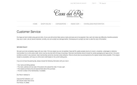 Screenshot of Support Page casadelriocollection.com - Customer Service - Casa del Rio Collection - captured Oct. 2, 2014