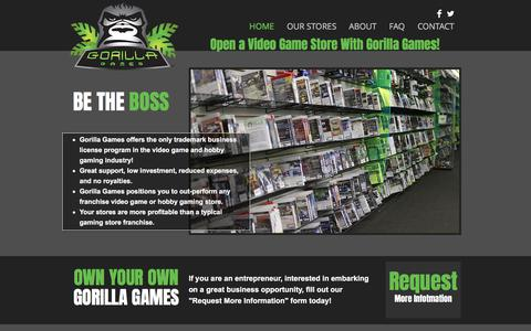 Screenshot of Home Page gorillagames.com - Gorilla Games Video Game Store Opportunity - captured Sept. 4, 2017