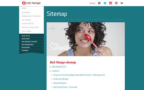 Screenshot of Site Map Page redmangousa.com - Sitemap | Red Mango Frozen Yogurt & Smoothies - captured July 18, 2017