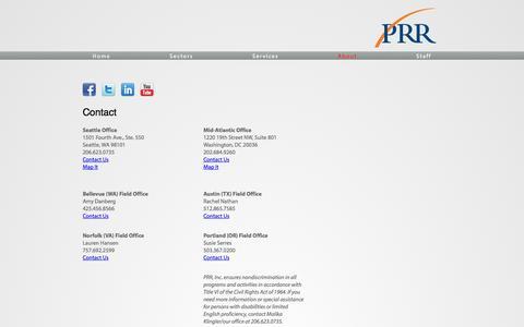 Screenshot of Contact Page prrbiz.com - Contact | PRR - captured Oct. 1, 2014
