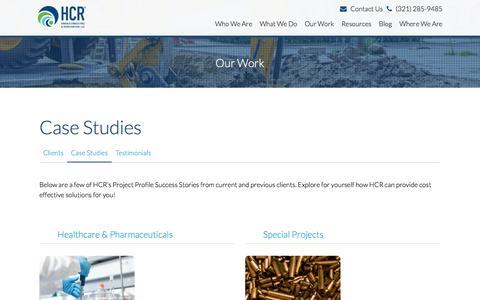 Screenshot of Case Studies Page hcr-llc.com - Case Studies | Our Work | HCR - captured Oct. 14, 2017
