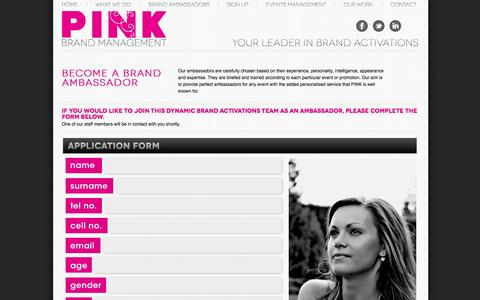 Screenshot of Signup Page pinkmanagement.co.za - BRAND ACTIVATIONS AGENCY IN SA - captured Oct. 2, 2014