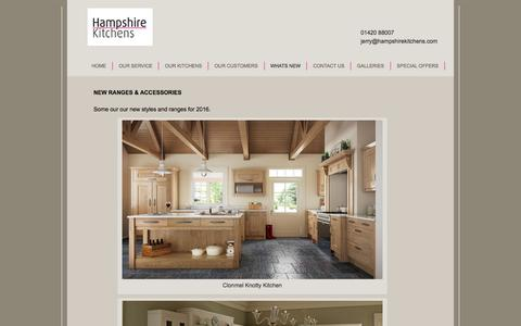Screenshot of Press Page hampshirekitchens.com - New Ranges & Accessories Hampshire Kitchens - captured July 11, 2016
