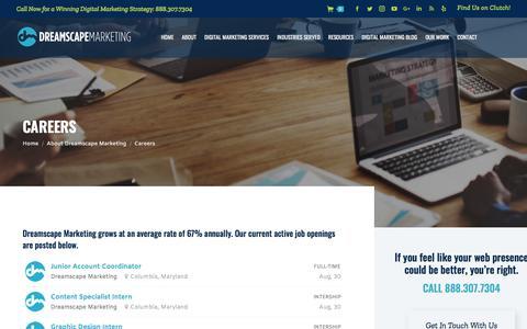 Screenshot of Jobs Page dreamscapemarketing.com - Digital Marketing Agency Careers | MD | Dreamscape Marketing - captured Sept. 22, 2018