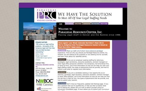 Screenshot of Home Page prcdenver.com - Paralegal Resource Center, Inc. Denver, Colorado - captured Sept. 26, 2018