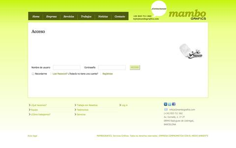 Screenshot of Login Page mambografics.com - Acceso - captured Sept. 30, 2014
