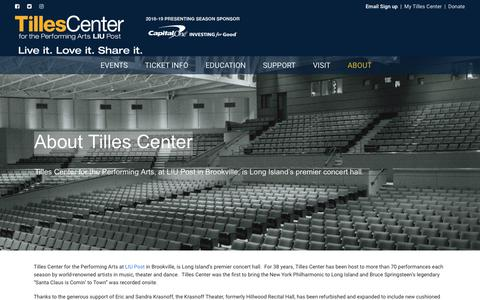 Screenshot of About Page tillescenter.org - About Tilles Center - TILLES CENTER - captured Sept. 23, 2018