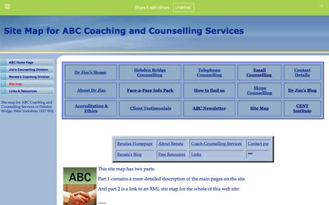 Screenshot of Site Map Page abc-counselling.com - Site Map for ABC Coaching and Counselling Services - captured Feb. 4, 2016