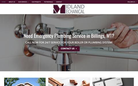Screenshot of Home Page midlandmechanicalmt.com - Plumbing Service, Boiler Repair | Midland Mechanical, Inc | Billings, MT - captured Nov. 15, 2018