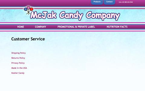 Screenshot of Support Page mcjakcandy.com - Customer Service - captured Oct. 18, 2017