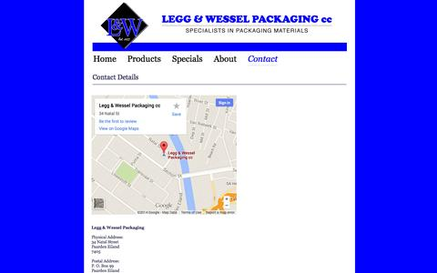 Screenshot of Contact Page landw.co.za - Legg & Wessel Packaging - captured Oct. 3, 2014
