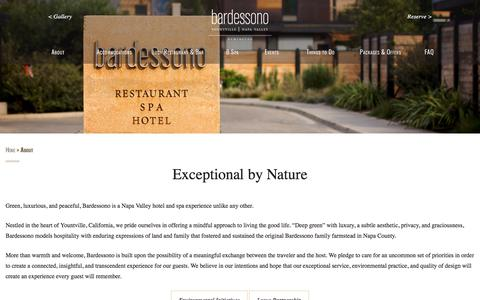 Screenshot of About Page bardessono.com - About Bardessono Napa Valley - Exceptional by Nature - captured April 14, 2018
