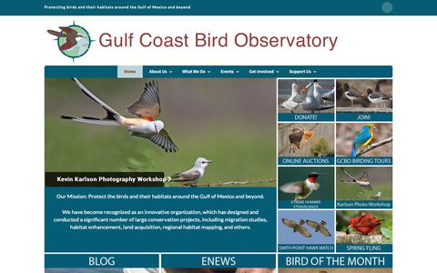 Screenshot of Home Page gcbo.org - Home - Gulf Coast Bird Observatory - captured Sept. 30, 2018