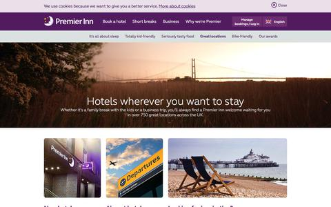Screenshot of Locations Page premierinn.com - Great Locations | Located Everywhere | Premier Inn - captured Oct. 18, 2017