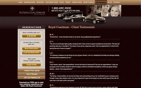 Screenshot of Testimonials Page royalcoachman.com - Contact Us New Jersey for Ground Transportation | RoyalCoachman.com - captured Nov. 5, 2014