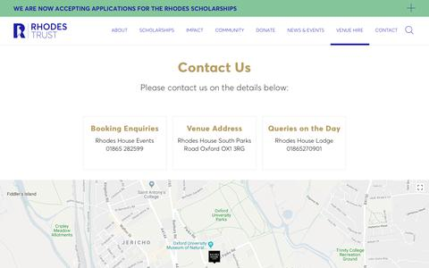 Screenshot of Contact Page ox.ac.uk - Rhodes House - Home of The Rhodes Scholarships - captured June 30, 2018