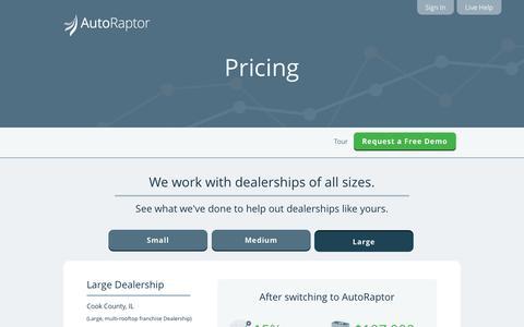 Screenshot of Pricing Page autoraptor.com - AutoRaptor – Automotive Lead Management ILM and CRM  » Pricing - captured Sept. 25, 2014