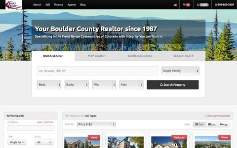 Screenshot of Home Page topboulderhomes.com - Angel Realty, LLC-Your Boulder County Realtor since 1987. Specializing in the Front Range Communities of Colorado with Integrity You can Trust in. - captured Jan. 27, 2015