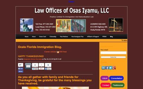 Screenshot of Blog osasimmigration.com - Immigration Blog Ocala Florida - captured Oct. 2, 2014