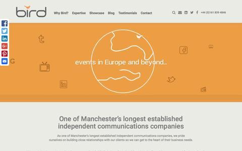 Screenshot of Home Page birdconsultancy.co.uk - Manchester PR Agency - Bird Consultancy - captured July 29, 2016