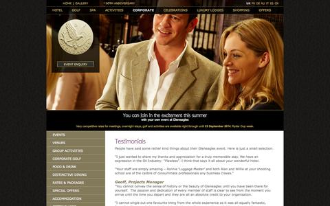 Screenshot of Testimonials Page gleneagles.com - Testimonials - Gleneagles - captured Sept. 19, 2014