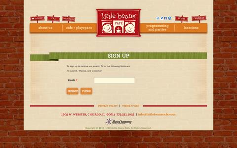 Screenshot of Signup Page littlebeanscafe.com - Sign Up - Little Beans Café - captured July 15, 2016