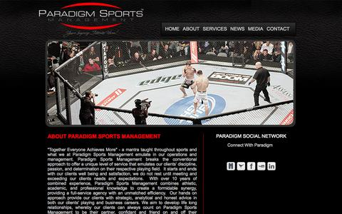 Screenshot of About Page paradigmsm.com - Paradigm Sports Management - captured Oct. 1, 2014