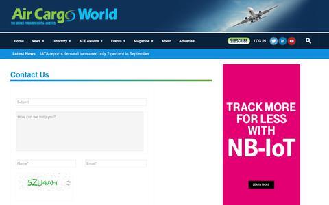 Screenshot of Contact Page aircargoworld.com - Contact Form   Air Cargo World - captured Nov. 6, 2018