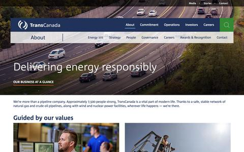 Screenshot of About Page transcanada.com - TransCanada — About - captured Dec. 19, 2018