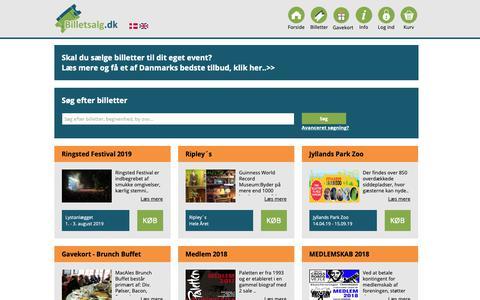 Screenshot of Home Page billetsalg.dk - Billetsalg.dk ApS - captured Oct. 5, 2018