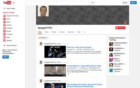 Screenshot of YouTube Page youtube.com - Syzygy3YTCh  - YouTube - captured Oct. 25, 2014
