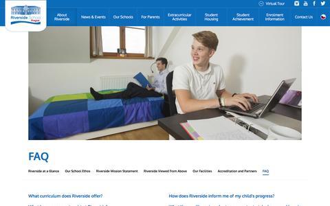 Screenshot of FAQ Page riversideschool.cz - FAQ – Riverside International School in Prague - captured Jan. 17, 2016