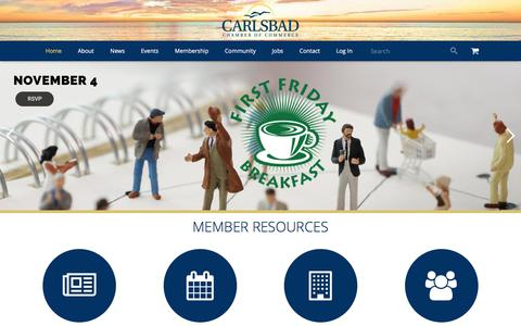 Screenshot of Home Page carlsbad.org - Carlsbad Chamber of Commerce | City of Carlsbad, California - captured Oct. 24, 2016