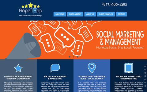 Screenshot of Home Page repairrep.com - Review Management | Social Management | Directory Listings | RepairRep - captured Sept. 21, 2018