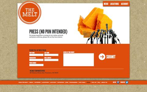 Screenshot of Press Page themelt.com - The Melt | Press - captured Sept. 17, 2014