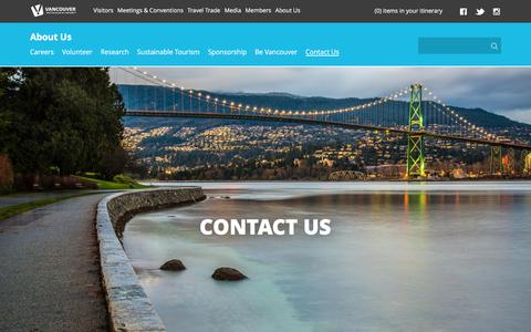 Screenshot of Contact Page tourismvancouver.com - About Us | Contact Us - captured Feb. 17, 2016