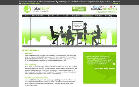 Screenshot of Testimonials Page takenotetyping.com - Testimonials Archives - Take Note - captured Oct. 9, 2014