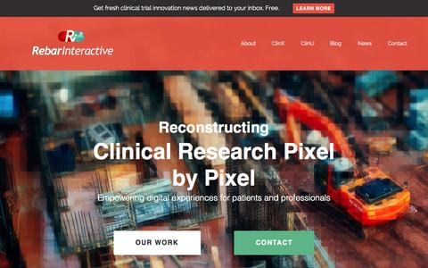 Screenshot of Home Page rebarinteractive.com - Rebar Interactive | Reconstructing Clinical Research Pixel by Pixel - captured Aug. 15, 2015
