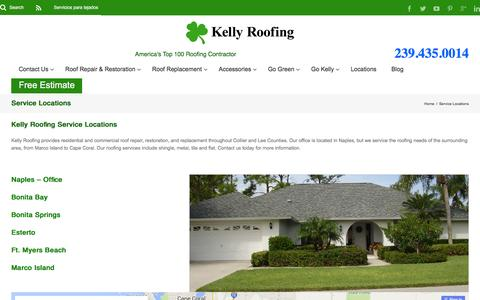 Screenshot of Locations Page kellyroofing.com - Roofing Service Locations | Kelly Roofing - captured Jan. 9, 2016