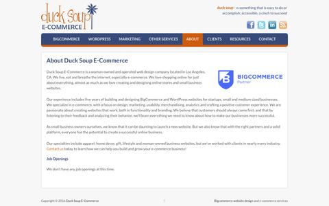 Screenshot of About Page ducksoupecommerce.com - About Us | Our Bigcommerce Design Philosophy - Duck Soup E-Commerce - captured Aug. 2, 2016