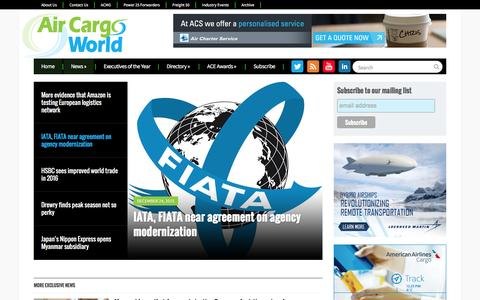 Screenshot of Home Page aircargoworld.com - Air Cargo World | The Source for Airfreight & Logistics - captured Dec. 24, 2015