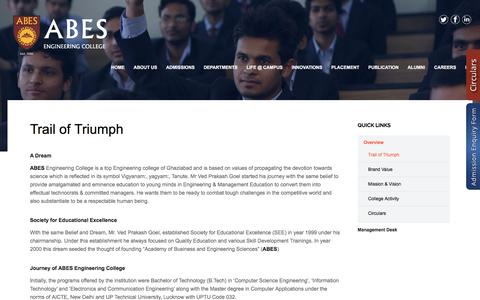 Screenshot of About Page abes.ac.in - Trail Of Triumph – ABES Engineering College - captured Sept. 22, 2016