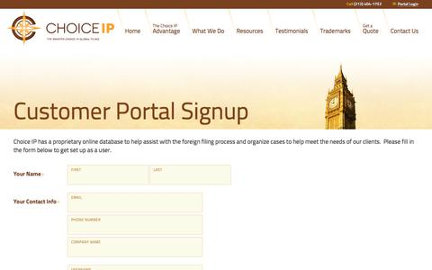 Screenshot of Signup Page choiceip.com - Signup | The Smarter Choice in Global Filing | Choice IP - captured July 17, 2018