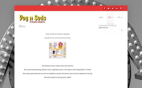 Screenshot of Menu Page ourdognsuds.com - Dog n Suds Current Menu  | Dog n Suds - captured Oct. 5, 2014