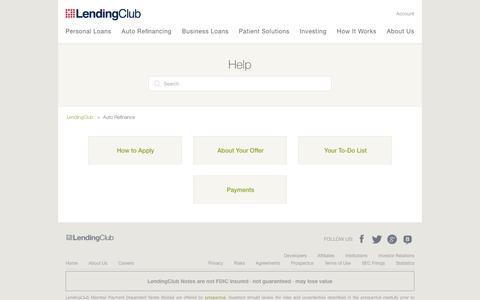 Screenshot of Support Page lendingclub.com - Auto Refinance – LendingClub - captured June 27, 2018