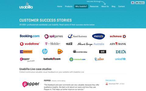Screenshot of Case Studies Page usabilla.com - Our customers - Usabilla - captured Sept. 11, 2014