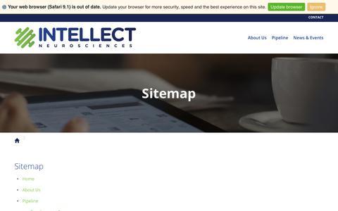 Screenshot of Site Map Page intellectns.com - Sitemap :: Intellect Neurosciences, Inc. - captured Oct. 14, 2017