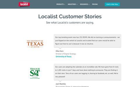 Screenshot of Testimonials Page localist.com - Calendar Marketing Software Customer Stories - Localist - captured Feb. 5, 2017
