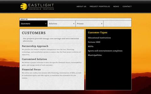 Screenshot of About Page eastlightventures.com - Customers | About Us | Eastlight Renewable Ventures - captured Jan. 25, 2016