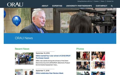 Screenshot of Press Page orau.org - ORAU News - Press releases, social media, publications, media contacts | ORAU - captured Sept. 21, 2018